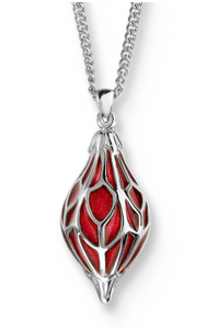Sterling Silver + Red Enamel Ornament Necklace