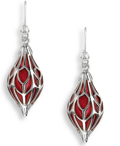 Sterling Silver Red Ornament Wire Earrings