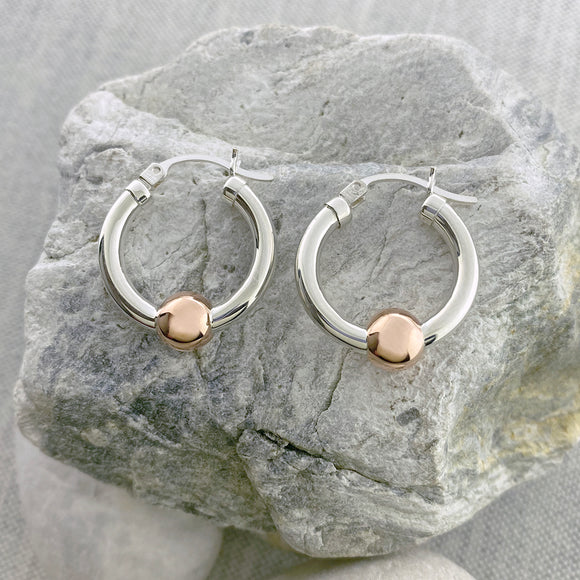 New! Cape Cod Classic Single Ball Hoops - Rose Gold