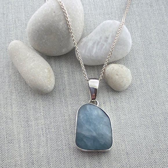 Rough-Cut Large Aquamarine Necklace