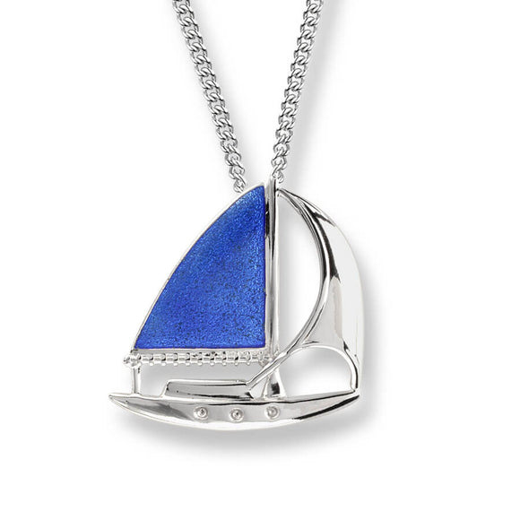 Sterling Silver + Blue Vitreous Enamel Sailboat Necklace