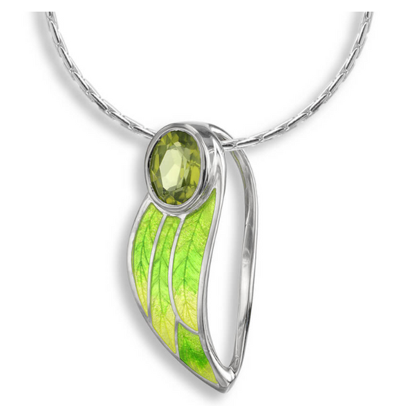 Sterling Silver + Green Enamel Contoured Leaf Necklace