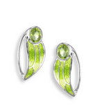 Sterling Silver + Green Enamel Contoured Leaf Stud Earrings