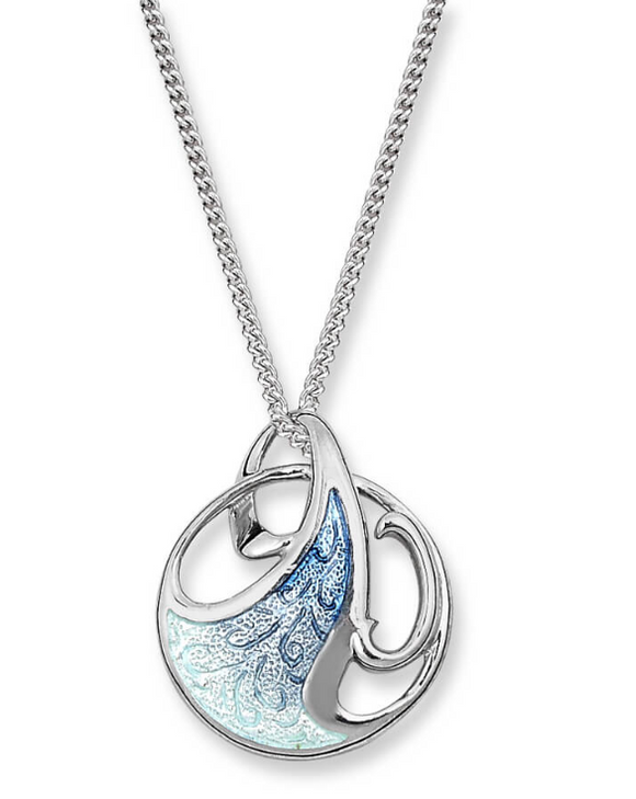 Sterling Silver + Ocean Blue Enamel Art Nouveau Necklace