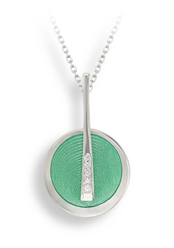 Sterling Silver + Green Enamel Art Deco Necklace
