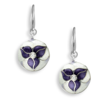 Purple Enamel Trillium Earrings