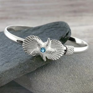 Sea Shells + Starfish Bracelet with Blue Topaz
