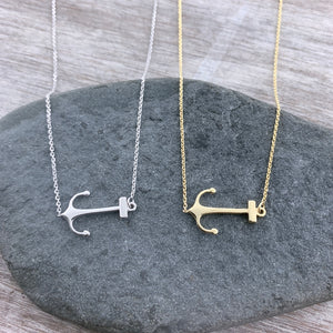 14k Gold Side Anchor Necklace