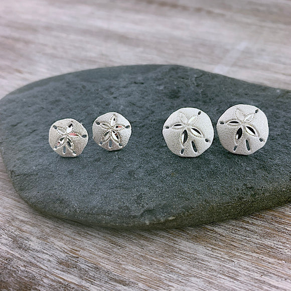 Sandblasted Sand Dollar Stud Earrings
