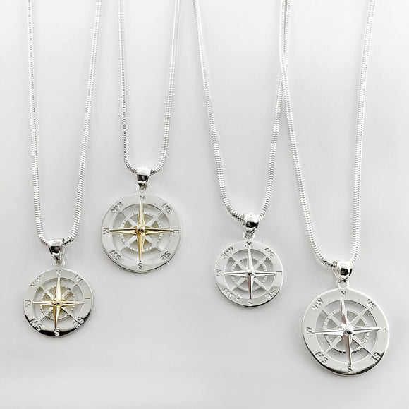 Smooth Compass Rose Pendants