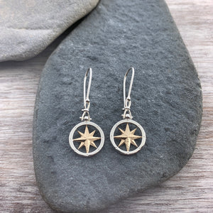 14k Gold + Sterling Silver Compass Earrings