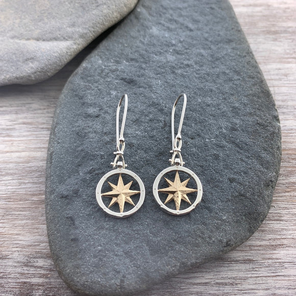 14k Gold & Sterling Compass Earrings