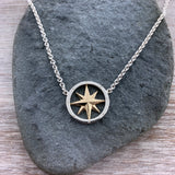 14k Gold + Sterling Compass Necklace / Earrings