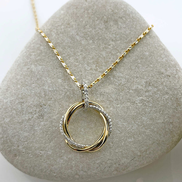 Two Tone Diamond Loop Necklace