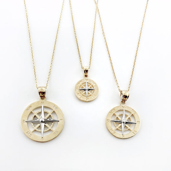 14k Two Tone Smooth Compass Rose Necklaces