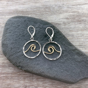 Two Tone Wave Earrings