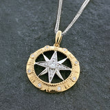 Two Tone Diamond Compass Pendant