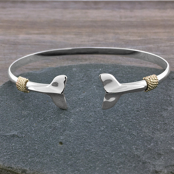 Two Tone Whale Tail Cuff Bracelet