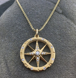 14k Gold + Diamond Compass Necklace