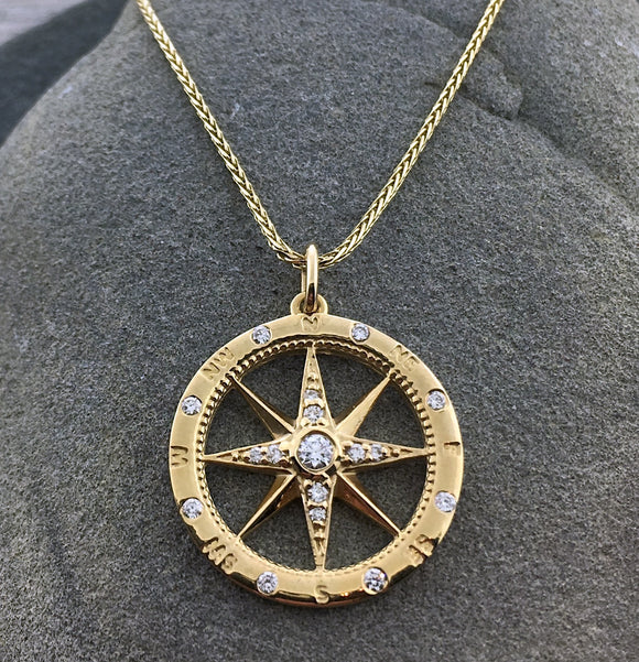 14k Yellow Gold + Diamond Compass Necklace