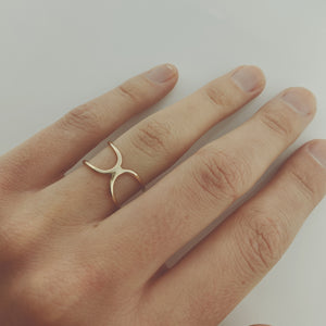Double-Sided Geometric Gold Ring