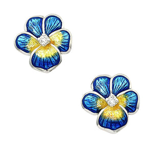 Blue + Yellow Pansy Diamond Earrings