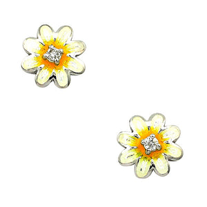 Sterling Silver + Enamel Daisy Earrings