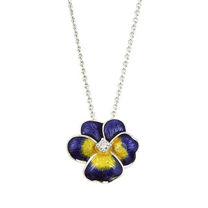 Purple + Yellow Pansy Necklace