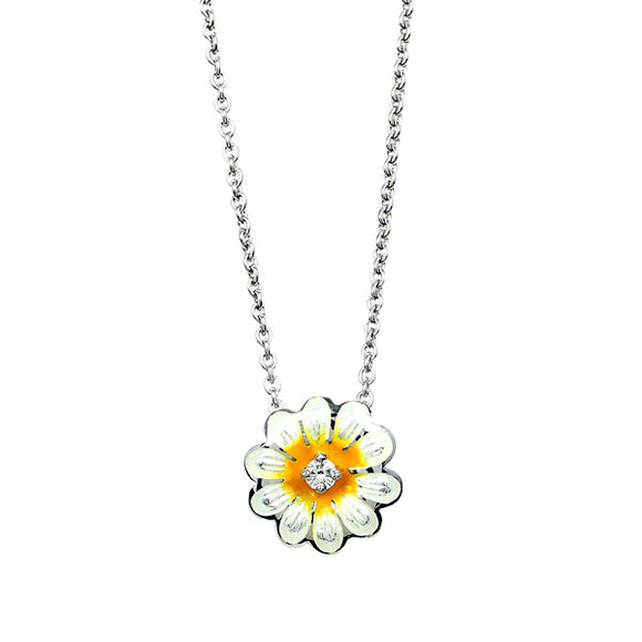 Sterling Silver + Enamel Daisy Necklace