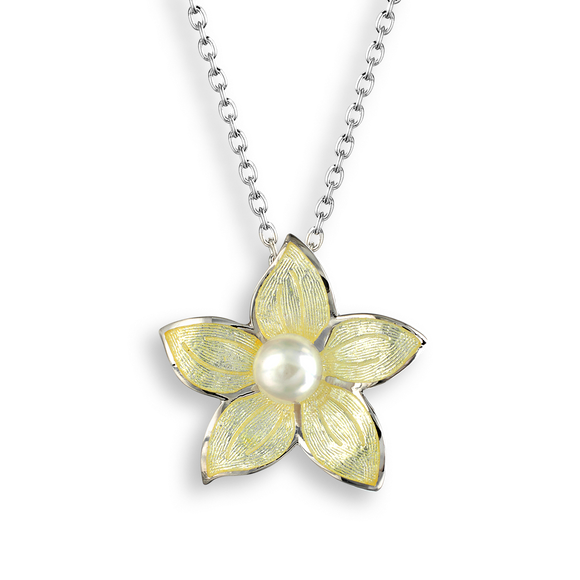 Sterling Silver + Enamel Pearl Stephanotis Necklace