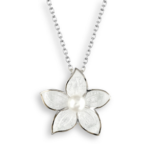 Sterling Silver + Enamel Stephanotis Pearl Necklace