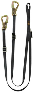 Fusion Climb 6ft Y Legged Lanyard with High Strength Double Locking Snap Hook Adjustable Black