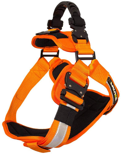 Fusion Pets Trekker Adjustable Hi-Vis Military Tactical Police K9 Ergonomic Reflective Strip Dog Harness Hunting Guard Canine Large Orange