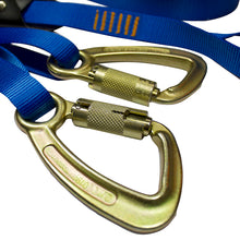 Load image into Gallery viewer, Y-LEGGED ADJUSTABLE FALL SAFETY LANYARD W/STEEL CARABINERS