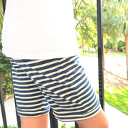 Boys Lounge Shorts Navy Stripe