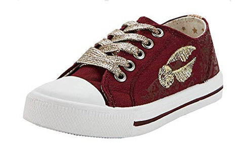 a5638bc55e4a1 Girls Kids Trainers Canvas Lace Plimsoll Sneakers Shoes: Amazon.co.uk