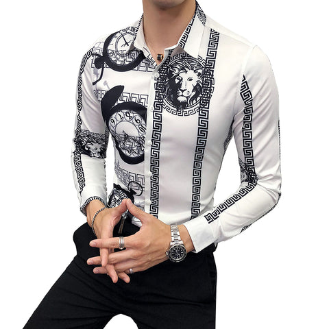 58c77e6d8 2019 New Fashion Boutique Printing Men's Slim Casual Long-sleeved Shirts /  European and American