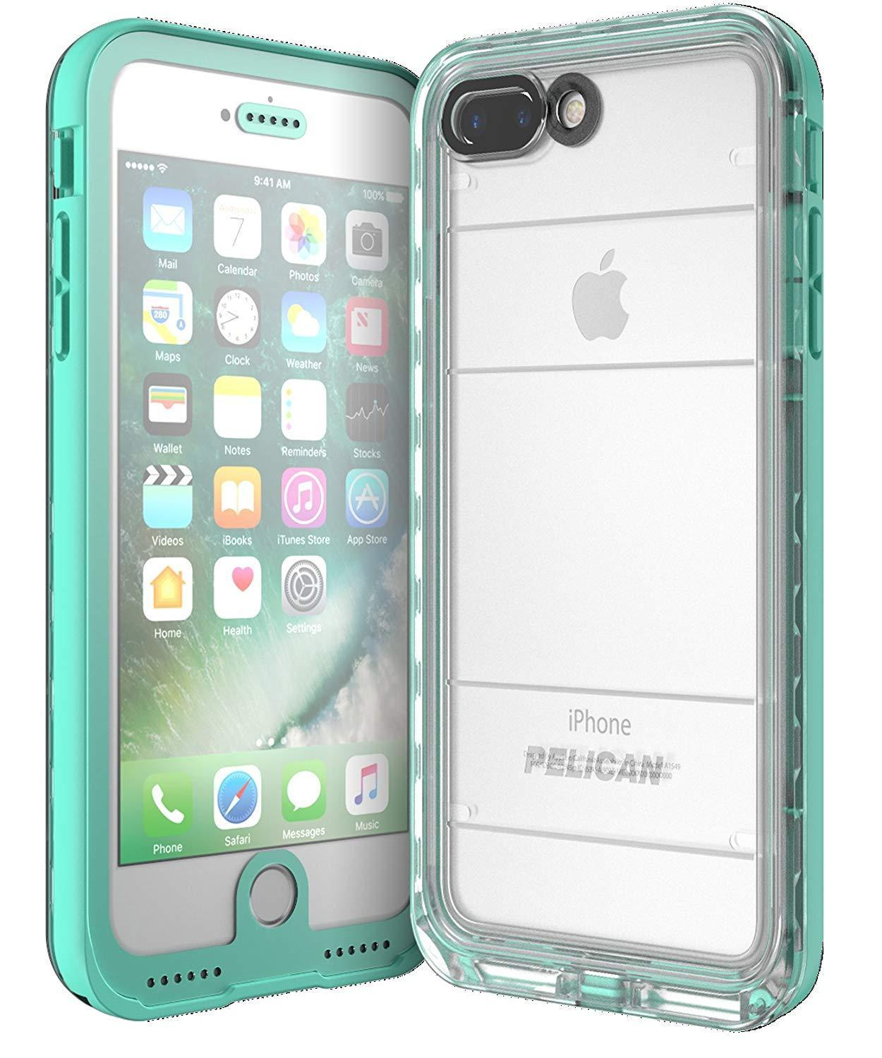 separation shoes 7d93e a5a25 Pelican Marine Total Protection Case for iPhone 7 Plus/ 8 Plus - Teal /  Clear