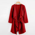Waterfall Collar Pocket Front Wrap Coat - BunnyTags