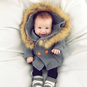 Premium Baby Fur Hooded Knit Cardigan Outwear for Kids 9M-3 Years