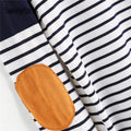Striped Elbow Patch Curved Hem T-Shirt - BunnyTags