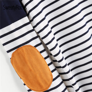 Striped Elbow Patch Curved Hem T-Shirt