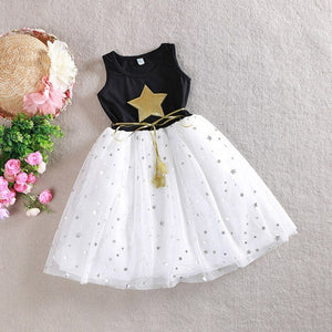 Princess Dress Stars Printed Sequins Tulle Bowknot Summer Tutu Dress