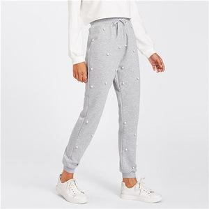 Grey Pearl Beading Knit Sweatpants