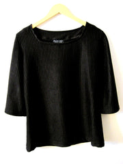 Black Rib Knit Top