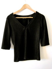 Black Rib Knit V Neck T