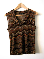 Brown Pattern Cowl Sleeveless Top