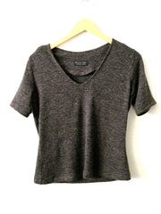 Brown Knit V Neck T