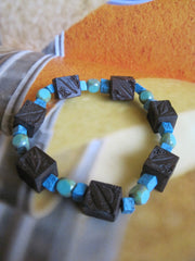 Carved Wooden Bead Bracelet