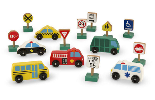 Preorder- Melissa and Doug- Wooden vehicles and traffic set